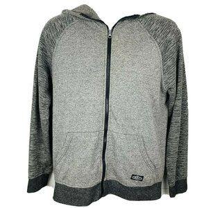 BROOKLYN CLOTH Hoodie Sweatshirt Full Zip Long Sleeve Gray Black
